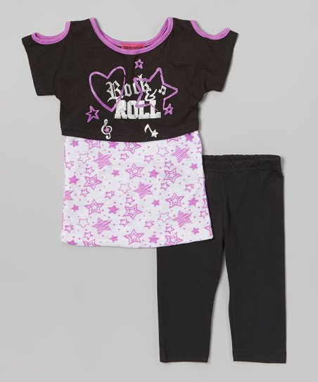 Black 'Rock-n-Roll' Tunic & Leggings - Toddler & Girls