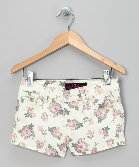 White & Pink Floral Shorts - Girls