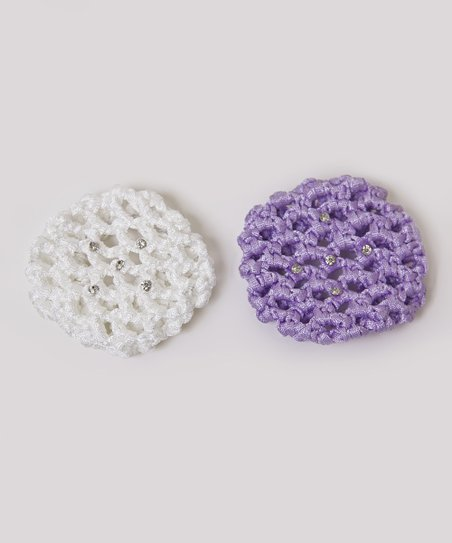 Lavender & White Rhinestone Bun Holder Set