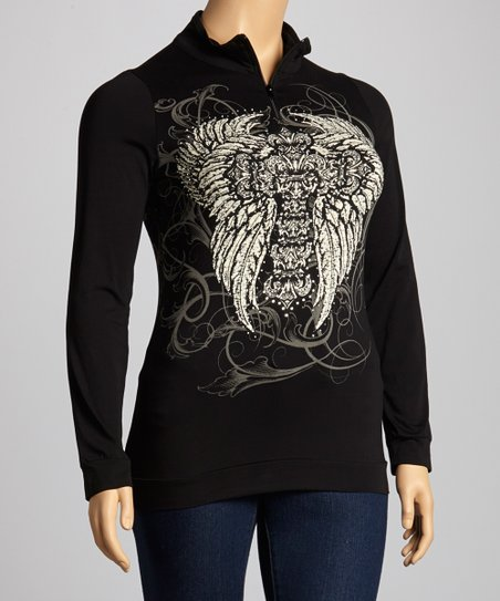 Black Fleur-de-Lis Cross Pullover - Plus