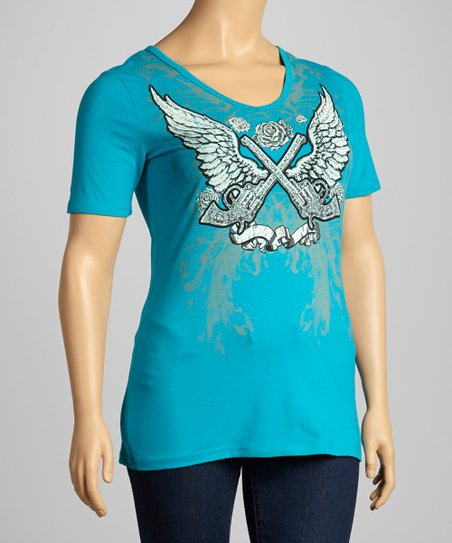 Turquoise Cutout Back V-Neck Top - Plus