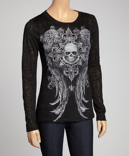 Black Skull & Angel Wings Crewneck Tee - Women