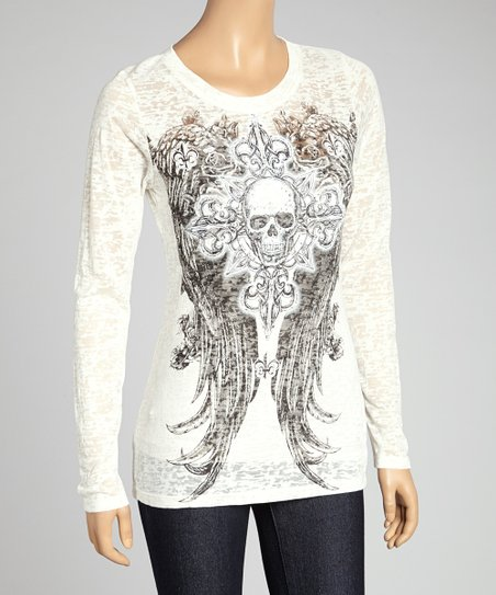 Ivory Skull & Angel Wings Crewneck Tee - Women