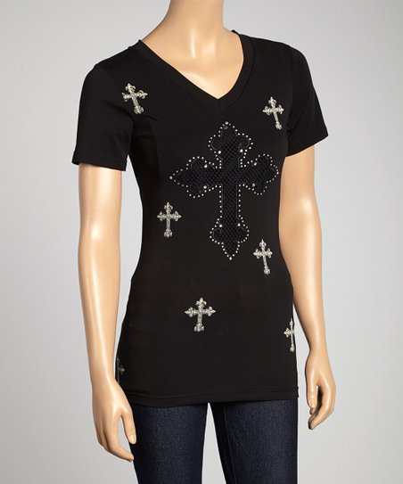 Black Mesh Cross V-Neck Tee - Women