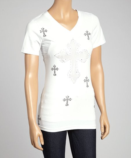 White Mesh Cross V-Neck Tee - Women
