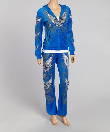 Royal Blue Edgy Cross Hoodie & Lounge Pants - Women