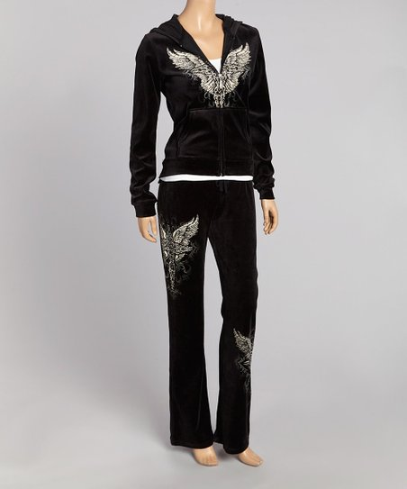 Black Velour Angel Cross Hoodie & Lounge Pants - Women