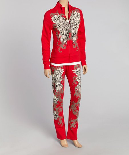 Red Fleur-de-Lis Track Jacket & Lounge Pants - Women