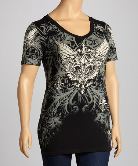 Black Studded Fleur-de-Lis V-Neck Tee - Women