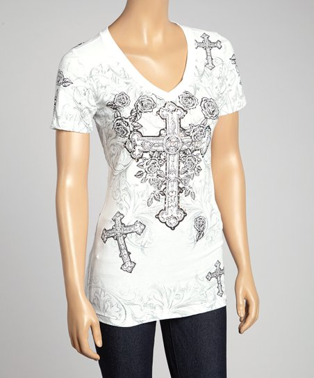 White Cross V-Neck Tee - Women