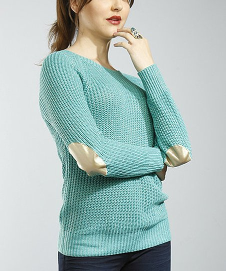 Mint & Gold Fisherman Knit Elbow Patch Sweater