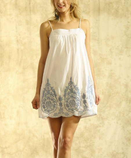 Ecru & Blue Embroidered Dress