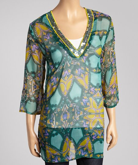 Green Abstract Sequin Tunic