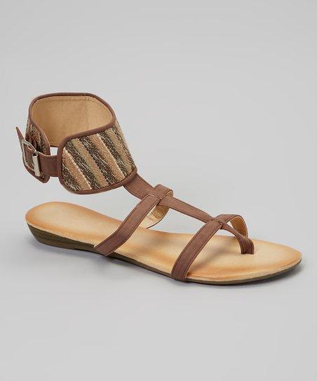 Brown Stripe Gladiator Sandal