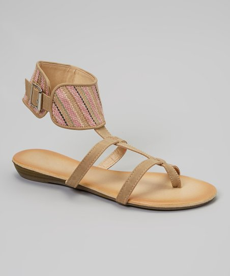 Tan & Pink Stripe Gladiator Sandal