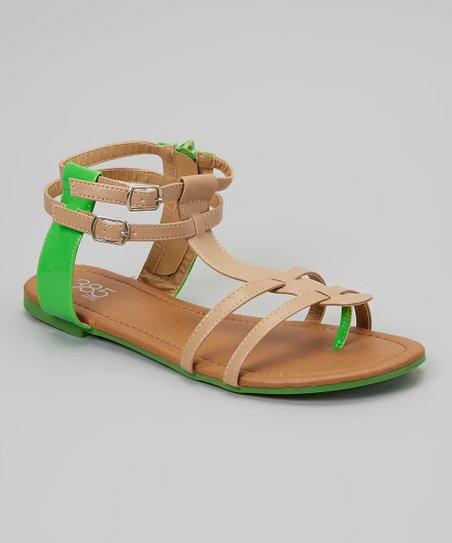 Neon Green & Taupe Gladiator Sandal