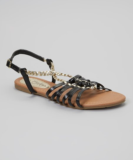 Black Braided Chain-Link Sandal