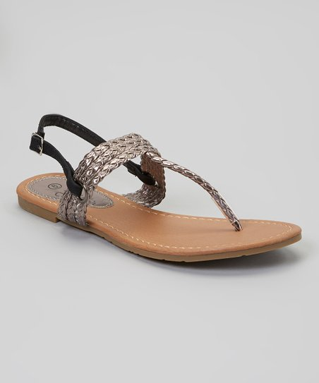 Black & Pewter Braided-Strap Sandal