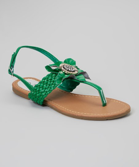 Green Braided-Strap Flower Sandal