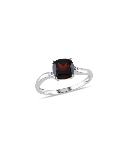 Diamond, Garnet & White Gold Flow Ring