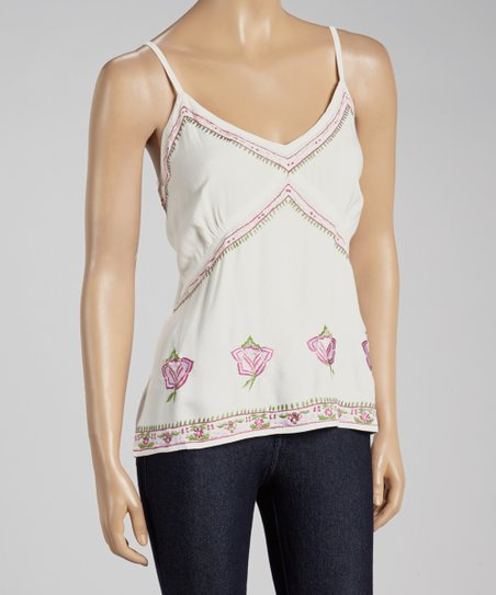 Cream Floral Embroidered Tank