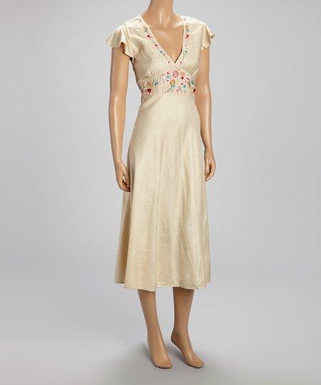 Tan Floral Embroidered Silk-Blend Empire-Waist Dress