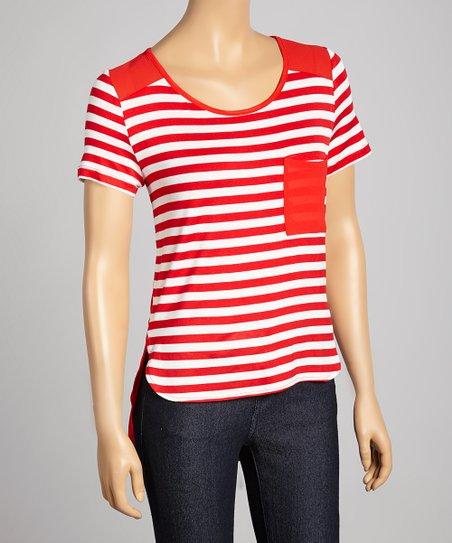 Red & White Stripe Pocket Scoop Neck Top