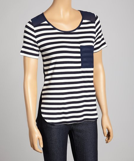 Navy & White Stripe Pocket Scoop Neck Top