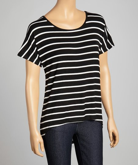 Black & White Stripe Scoop Neck Hi-Low Top