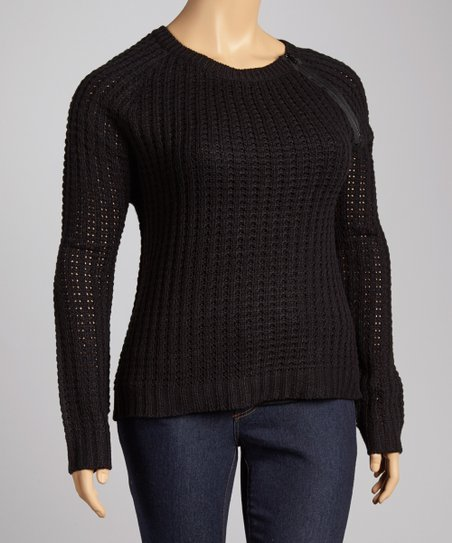 Black Pointelle Zipper Scoop Neck Sweater - Plus