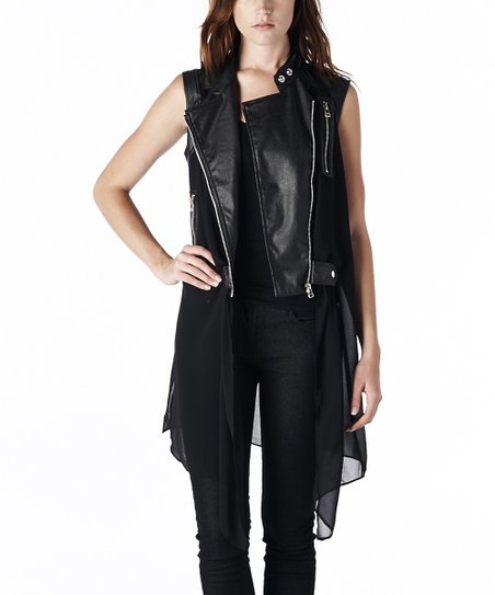 Black Faux Leather Duster Moto Vest