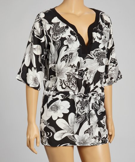 Leilani Black & White Hibiscus Cover-Up