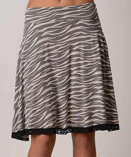 Zebra Lace Burnout A-Line Skirt