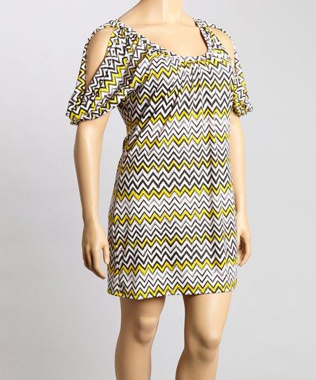 Black & Chartreuse Zigzag Ruched Scoop Neck Dress - Plus
