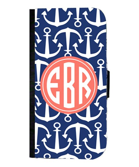 Blue Anchor Monogram Wallet Case for iPhone