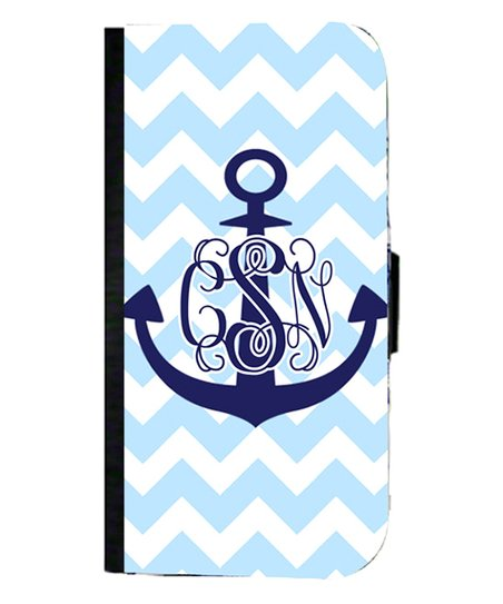 Zigzag Anchor Monogram Wallet Case for iPhone