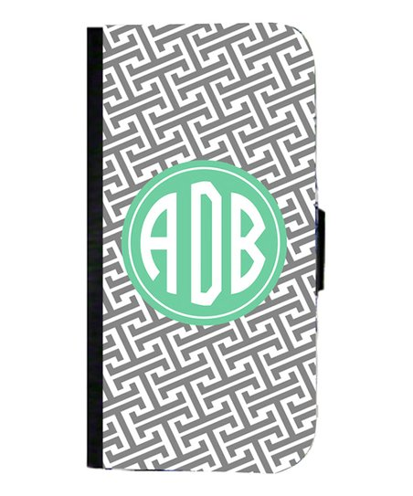 Gray Greek Key Monogram Wallet Case for iPhone