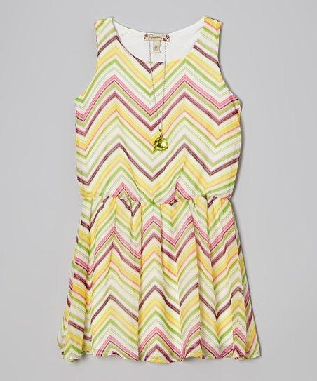 Green & Pink Zigzag Dress & Necklace - Girls