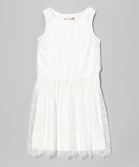 White Floral Lace Dress - Girls
