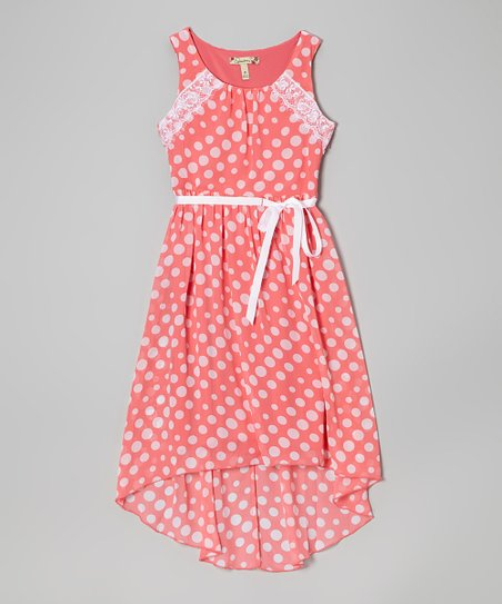 Coral & White Polka Dot Lace Hi-Low Dress