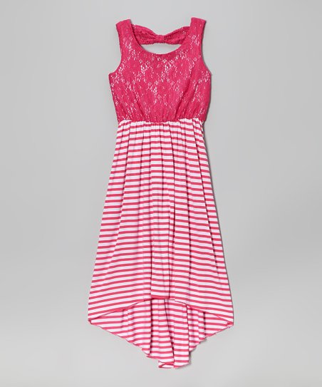 Fuchsia Lace Stripe Hi-Low Dress