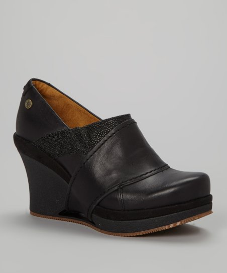 Black Divine Leather Wedge