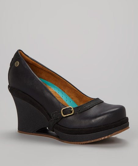 Black Fresco Leather Wedge