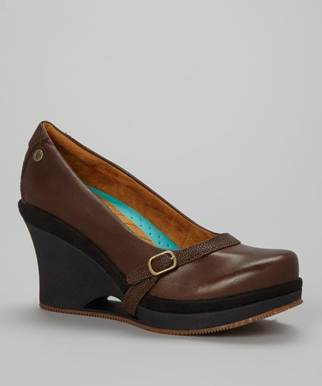 Brown Fresco Leather Wedge