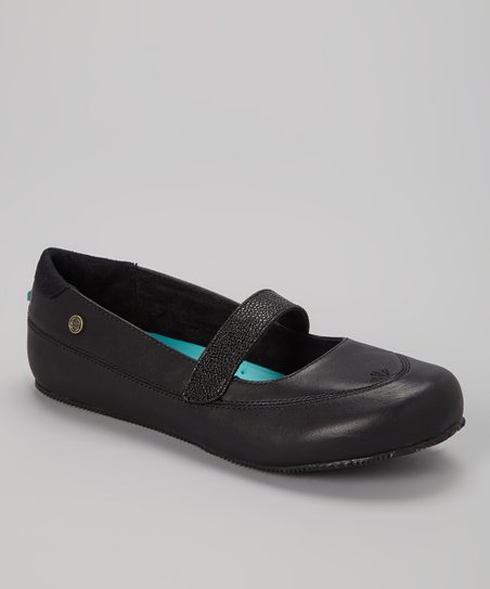 Black Fab Leather Flat