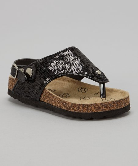 Black Glitter Sequin Cork Sandal