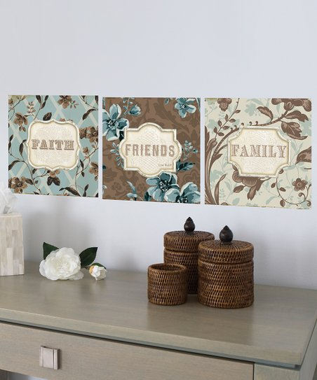 Brown & Blue 'Faith' Wall Decal Set