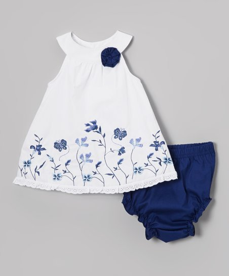 White & Blue Floral Yolk Dress & Diaper Cover - Infant