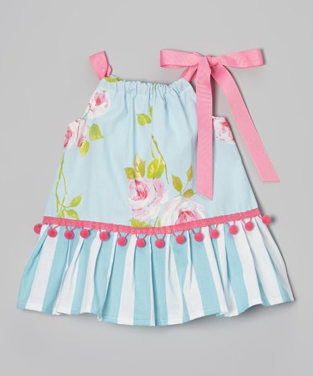 Blue & Pink Rose Pom-Pom Ruffle Dress - Infant & Toddler