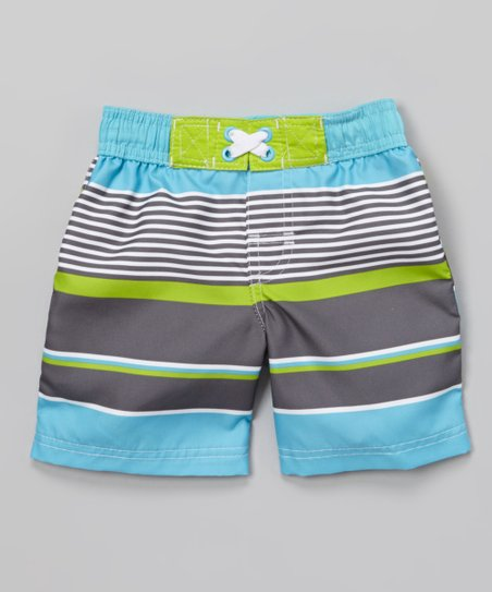 Turquoise & Green Stripe Boardshorts - Infant, Toddler & Boys